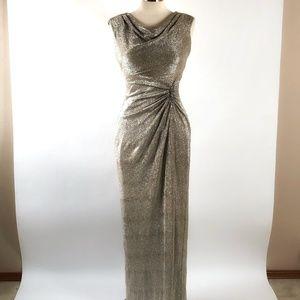 Ralph Lauren Gold Metallic Cowl Neck Gown EUC 4